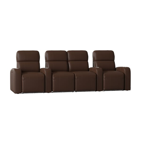 Sleek Home Theater Row Seating with Chaise Footrest (Row of 4) by Latitude Run