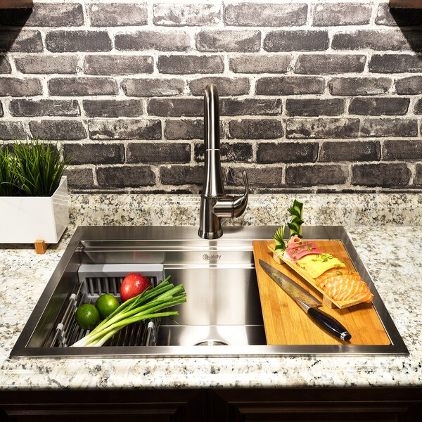 30 x 22 Drop-In Kitchen Sink with Basket Strainer by AKDY