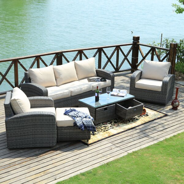 Belmonte 5 Piece Rattan Sofa Seating Group with Cushions by Latitude Run