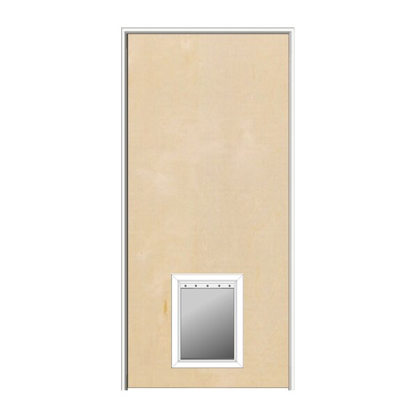 Primed Hardboard MDF Flush Prehung Interior Door With Pet Door by Verona Home Design