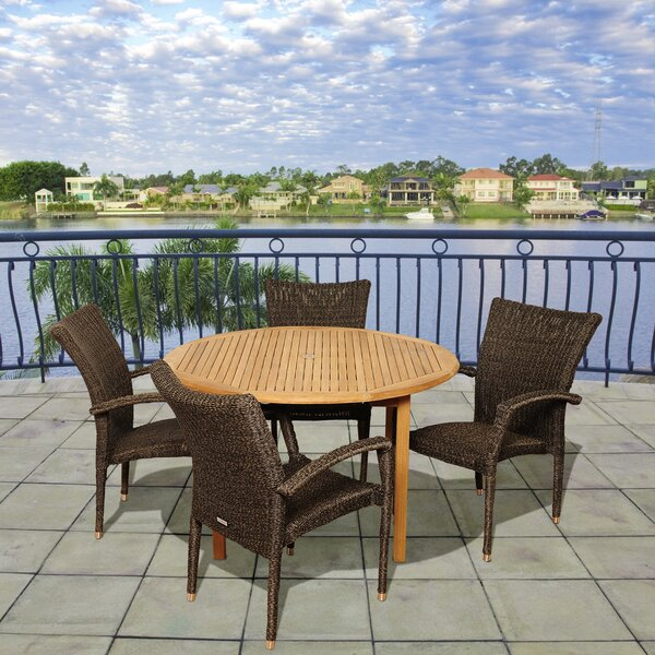 Bridgepointe 5 Piece Teak Dining Set by Rosecliff Heights