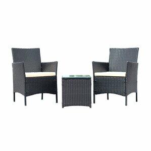 Walker Handmade 3 Piece Compact Outdoor/Indoor Garden Patio Furniture Set  Black PE Rattan