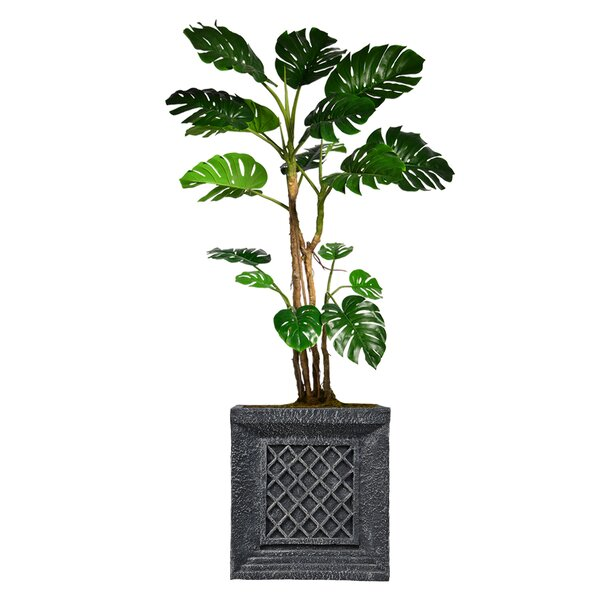 Monstera Artificial Home Décor Floor Foliage Tree in Planter by Red Barrel Studio