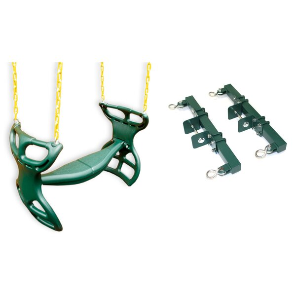 Heavy-Duty Horse Glider Swing Seat Back-To-Back with Chains and Hooks by Eastern Jungle Gym