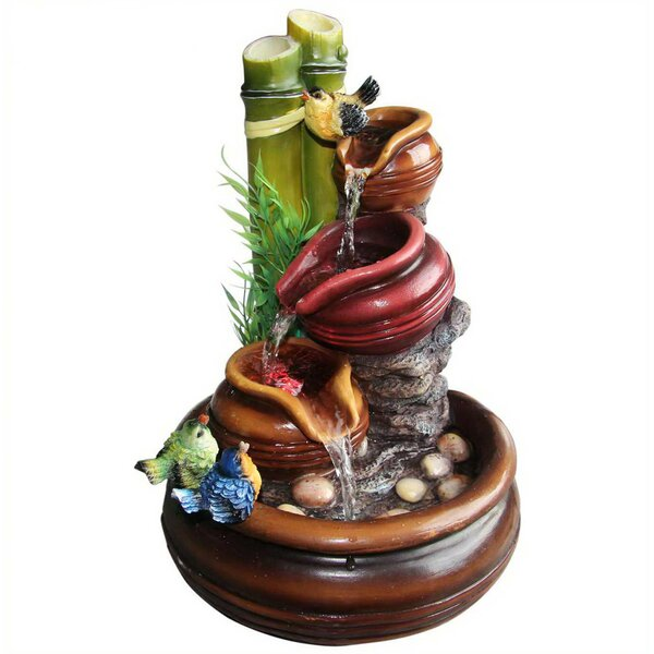 Resin Artistic Sculptural Colorful Birds Resting on 3 Tier Jar Tabletop Water Fountain by Sintechno