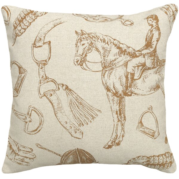 Equestrian Linen Throw Pillow by 123 Creations