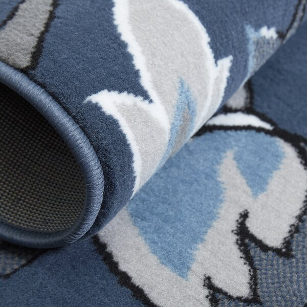 Albion Power Loom Blue/White Area Rug by Winston Porter