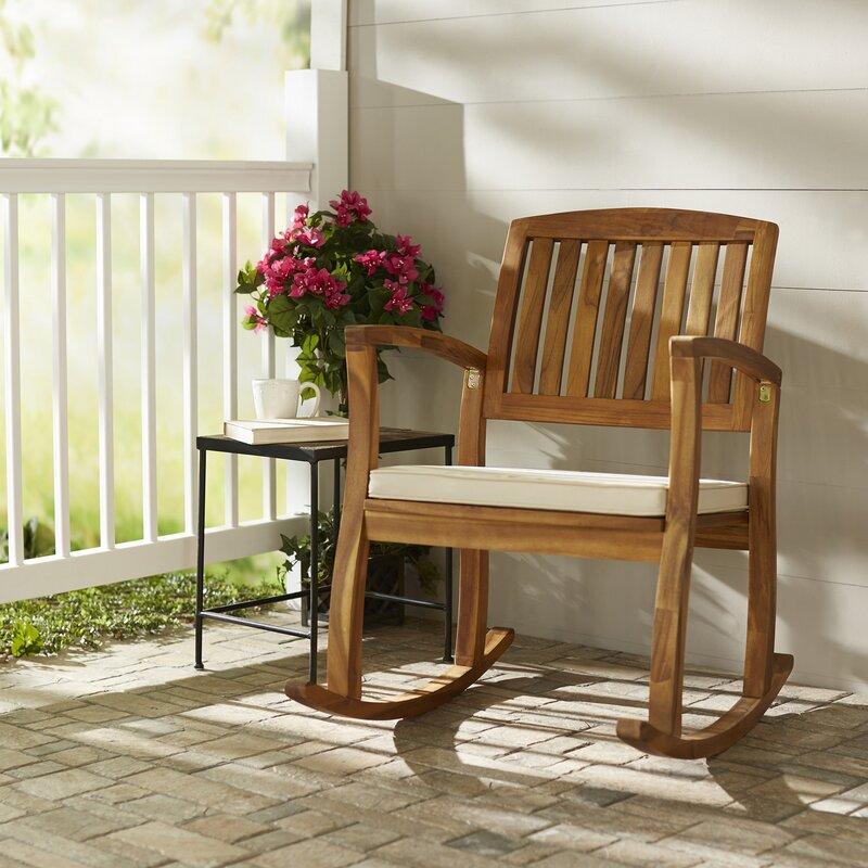Kairi Acacia Rocking Chair With Cushion