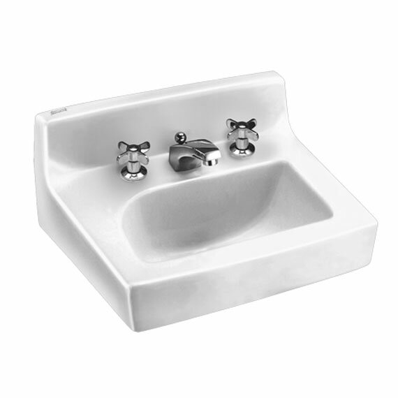 Concealed Ceramic 18 Wall Mount Bathroom Sink with Faucet and Overflow by American Standard