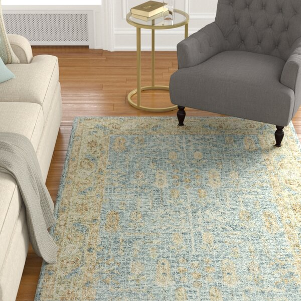 Fitzwater Hand-Hooked Wool Blue/Gold Area Rug by Charlton Home