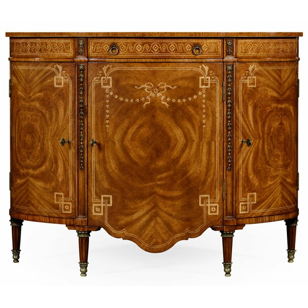 Windsor Sheraton Style Bowfront Commode 3 Door Accent Cabinet by Jonathan Charles Fine Furniture