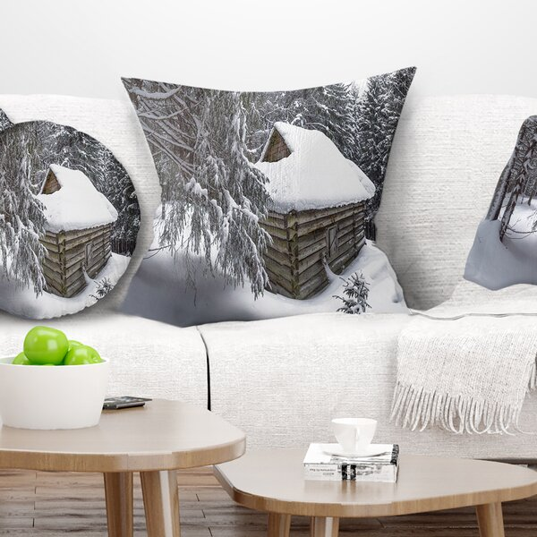 Landscape House in Magic Winter Forest Pillow by East Urban Home