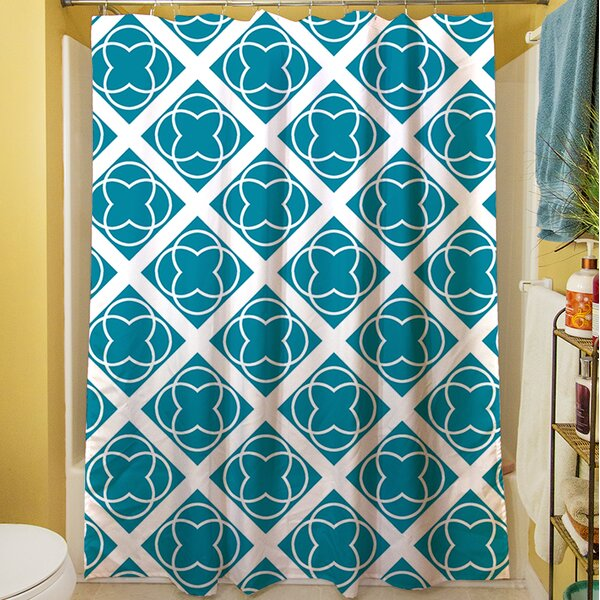 Modern Geometric Topaz Shower Curtain by Manual Woodworkers & Weavers