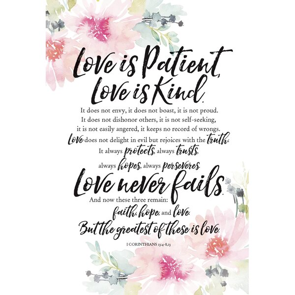 Woodland Grace Love Is Patient Textual Art on Wood by Dexsa