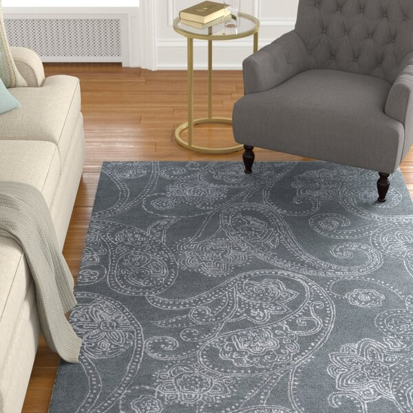 Laurita Hand-Tufted Medium Gray/White Area Rug by Alcott Hill