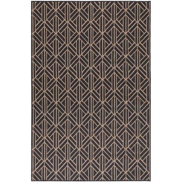 Spurling Geometric Charcoal Indoor / Outdoor Area Rug