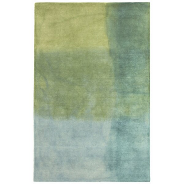 Harpster Watercolors Sea Breeze Hand-Tufted Wool Blue Area Rug by Red Barrel Studio