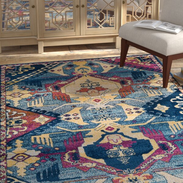 Kay Blue/Pink/Khaki Area Rug by Bungalow Rose