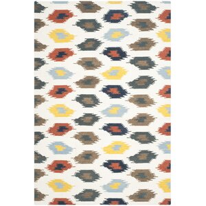 Dhurries Cotton/Wool Ivory Area Rug
