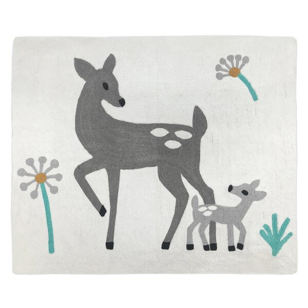 Floor Hand-Tufted Cotton Gray Area Rug by Sweet Jojo Designs