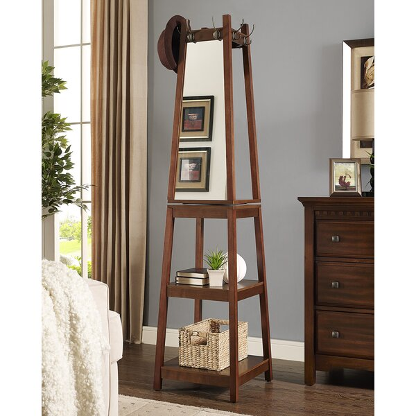 Vassen Swivel Coat Rack with 3-Tier Storage and Mirror Shelf by Roundhill Furniture