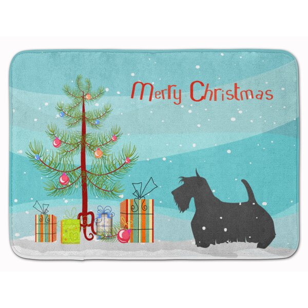 Scottish Terrier Merry Christmas Tree Memory Foam Bath Rug by The Holiday Aisle