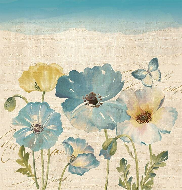 Argelia Water Color Poppies Shower Curtain