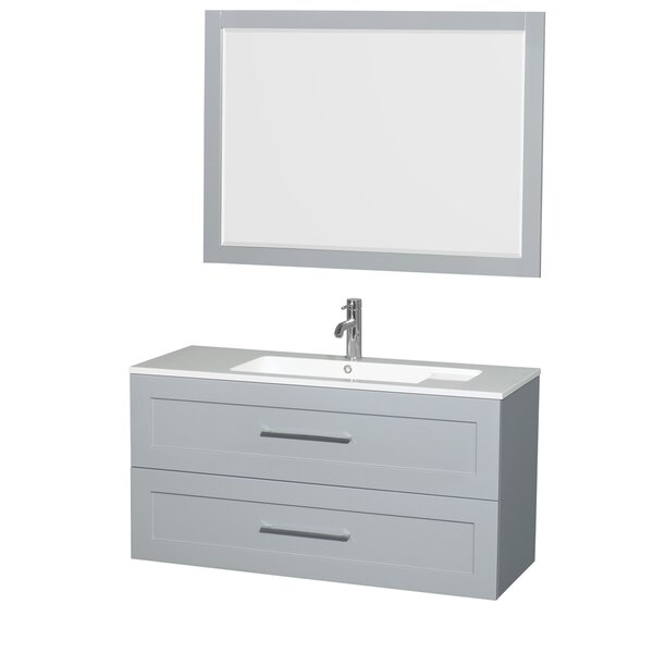 Olivia 47 Single Dove Gray Bathroom Vanity Set with Mirror by Wyndham Collection