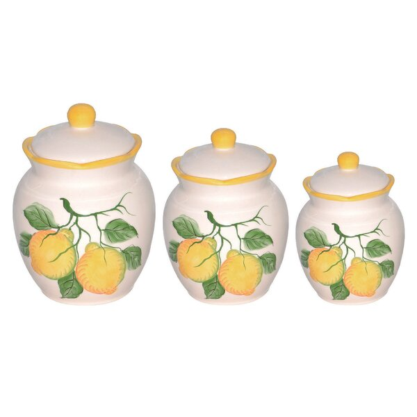 Lorren home trends lemon 3 piece kitchen canister set for Hearth and home designs canister set