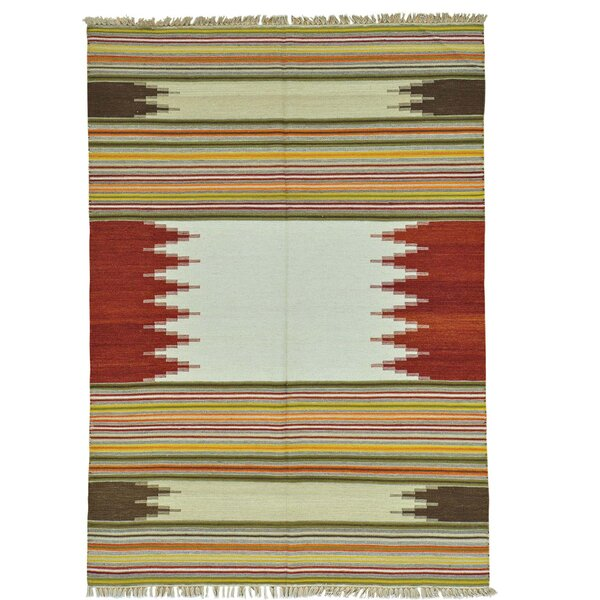 Durie Kilim Flat Weave Hand-Knotted Beige/Rust Area Rug by Millwood Pines