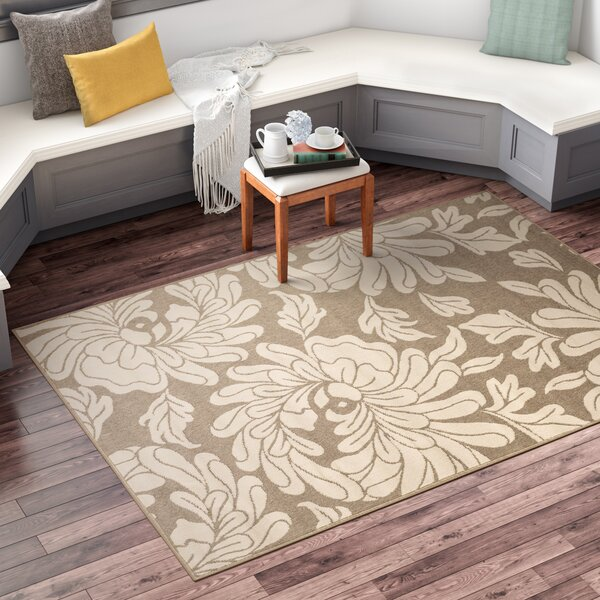 Nash Camel/Cream Indoor/Outdoor Floral Area Rug by Three Posts