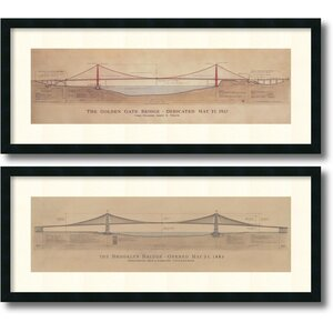 'Golden Gate Bridge, Brooklyn Bridge' by Craig S. Holmes 2 Piece Framed Graphic Art Set by Amanti Art