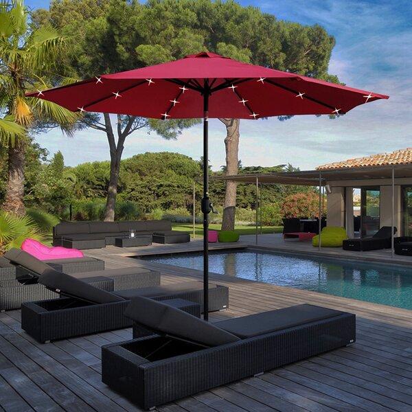 Solar Led Lighted Patio 9' Market Umbrella by Charlton Home