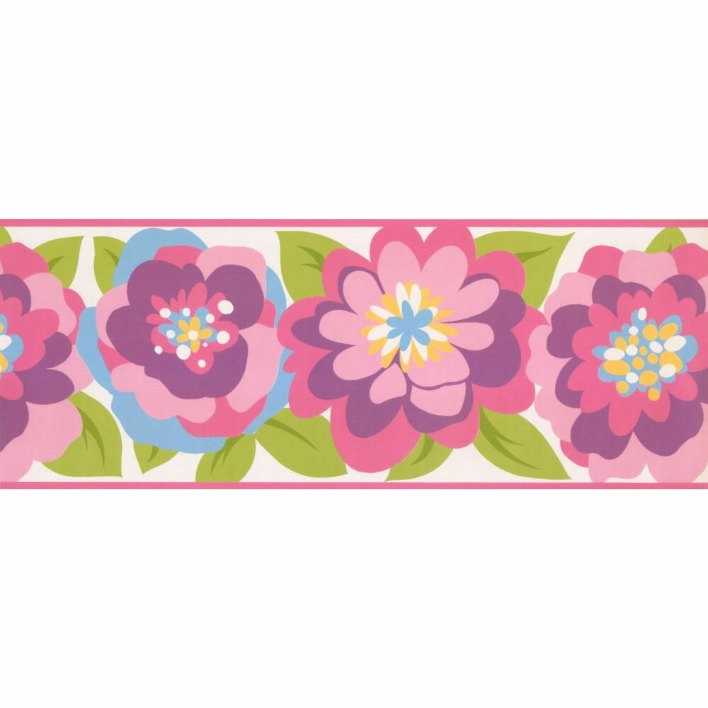Zoomie Kids Trafford Floral 15 L X 9 W Wallpaper Border Wayfair