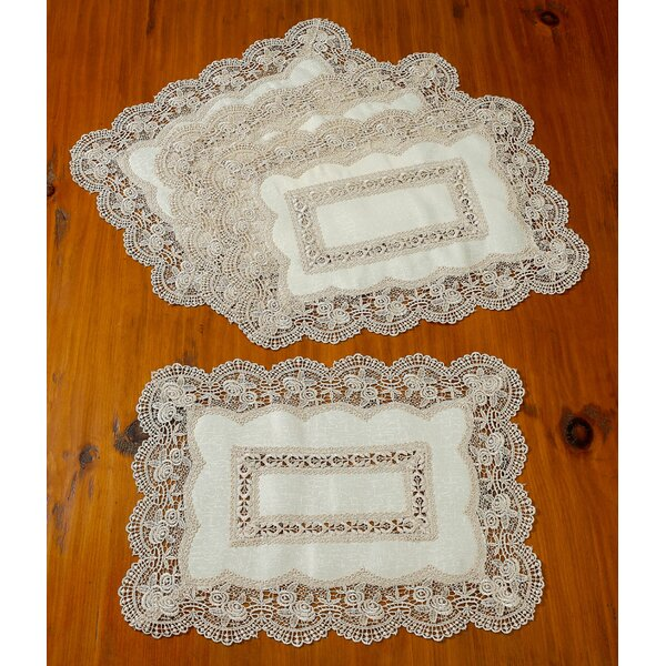 Ruben Decorative Lace Cutwork 14 Placemat (Set of 4) by Astoria Grand