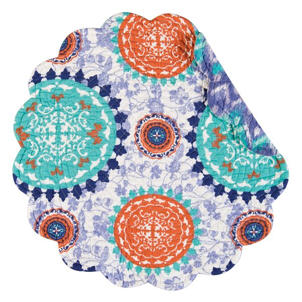 Zarina Reversible Round Quilt Placemat (Set of 6) by C&F Home