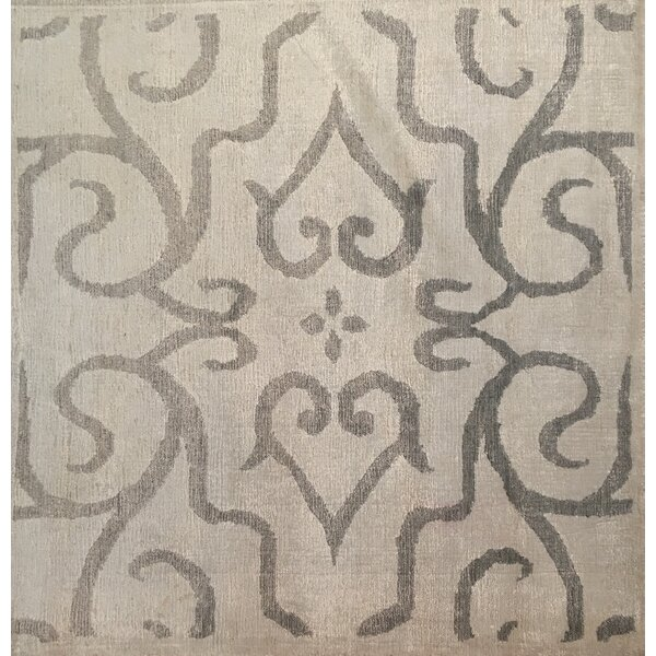 Hand-Knotted Ivory/Light Gray Area Rug by Exquisite Rugs