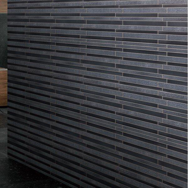 Linear Wood Look Paint Effect Random Sized Glass Mosaic Tile in Gray/Black Metal by Multile