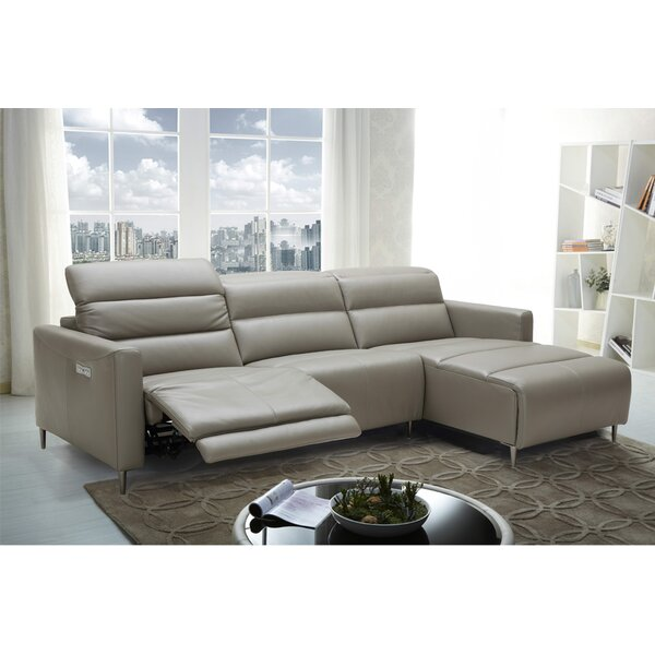 Best #1 Cragin Leather Sectional By Orren Ellis Fresh