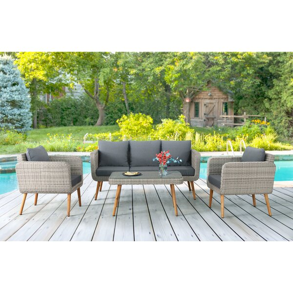 Destini 4 Piece Rattan Sofa Seating Group with Cushions by Bayou Breeze
