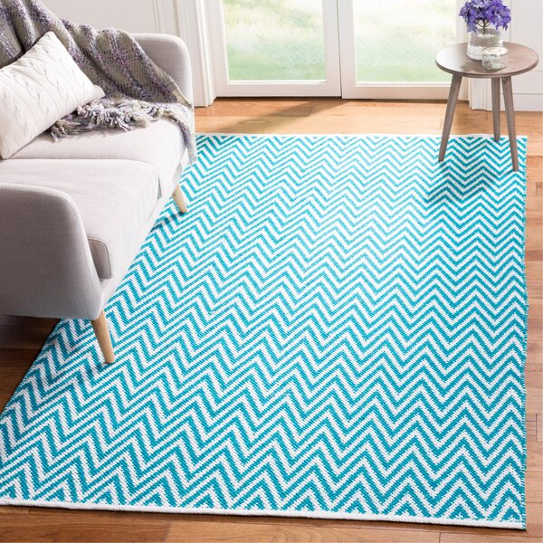 Whitton Hand-Woven Turquoise/Ivory Area Rug by Wrought Studio