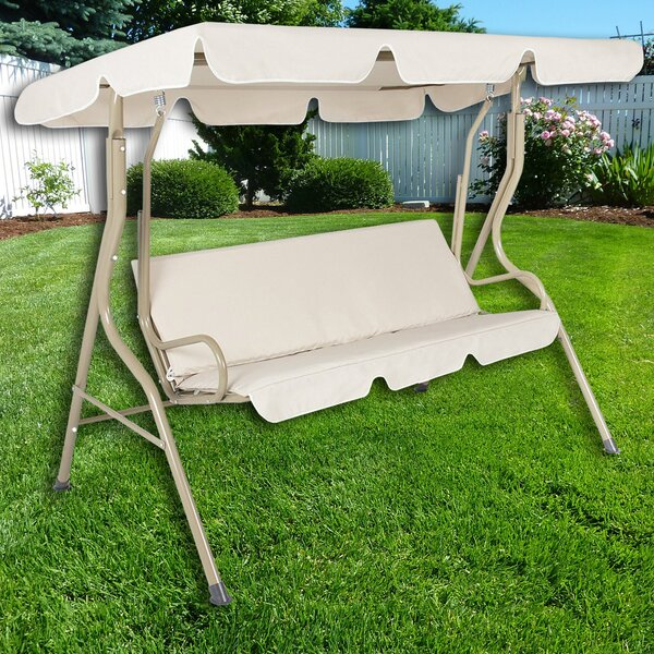 Steele Patio Swing Canopy Hammock Glider Bench with Cushions by Charlton Home