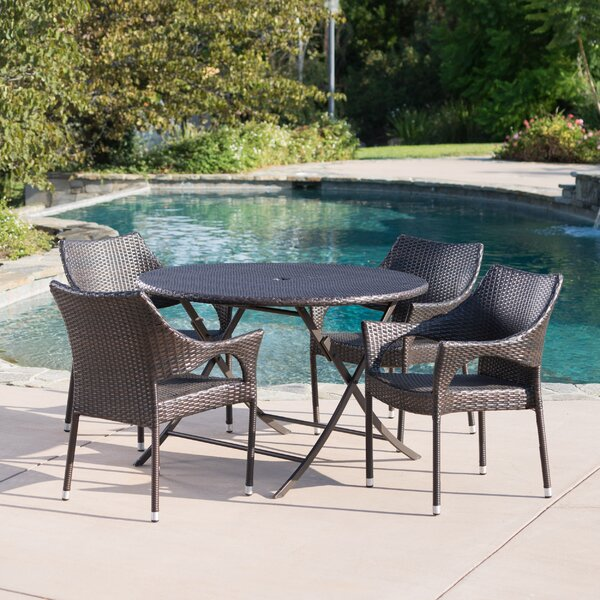 Vijay Outdoor Wicker 5 Piece Dining Set by Orren Ellis