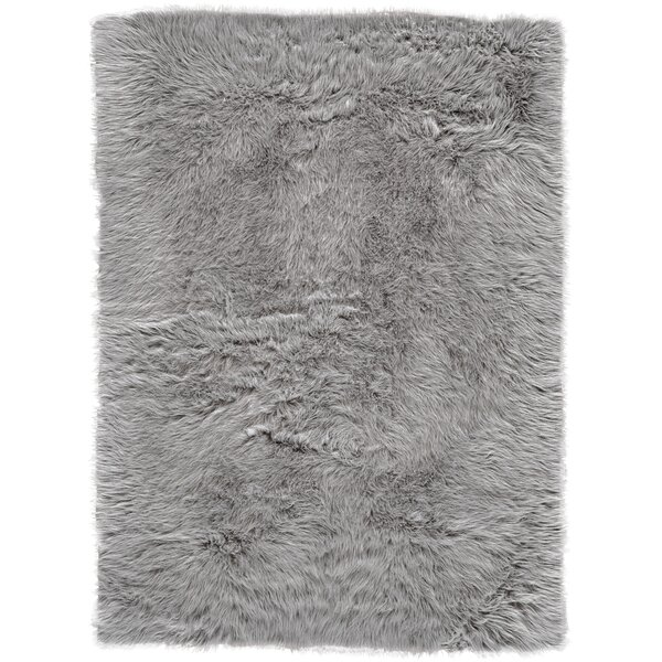 Linden Faux Fur Gray Area Rug by House of Hampton