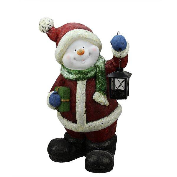 Festive Glitter Snowman with Lantern Christmas Table Top Decoration by Northlight Seasonal