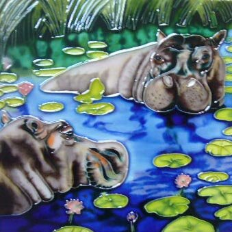 2 Hippos Tile Wall Decor by Continental Art Center