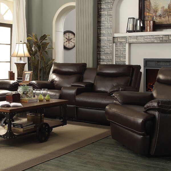Hughes Leather Reclining Loveseat by Red Barrel Studio