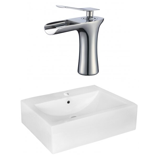 Ceramic 16 Wall Mount Bathroom Sink with Faucet and Overflow by American Imaginations