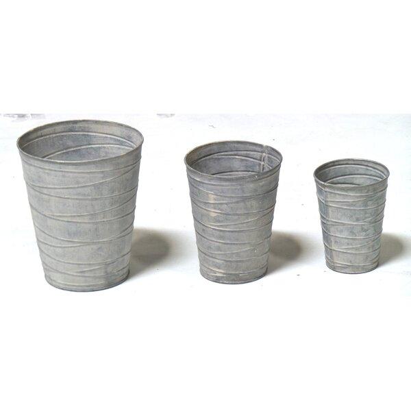 3-Piece Metal Pot Planter Set by Gold Eagle USA