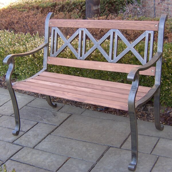 Wesner Triple Cross Wood and Metal Park Bench by August Grove